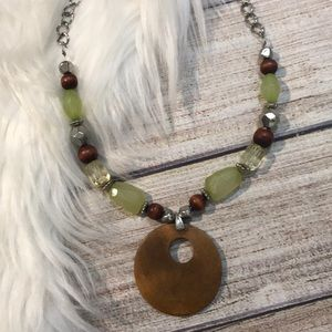 Necklace, green and wooden beads